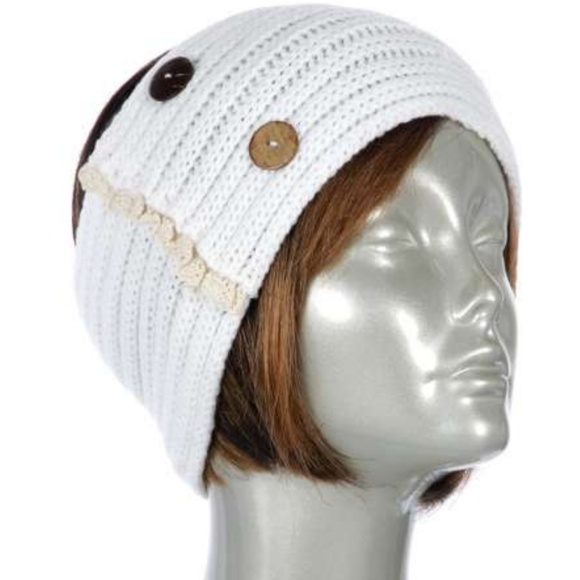 Gingas Galleria Accessories Ivory Button Lace Crochet Headband